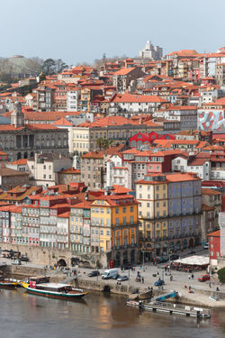 High angle view of Porto. Porto Portugal Architecture Building Building Exterior Built Structure City Cityscape Community Crowd Crowded Day House Location Mode Of Transportation Nature Nautical Vessel Outdoors Place Residential District Sky Town TOWNSCAPE Transportation Water