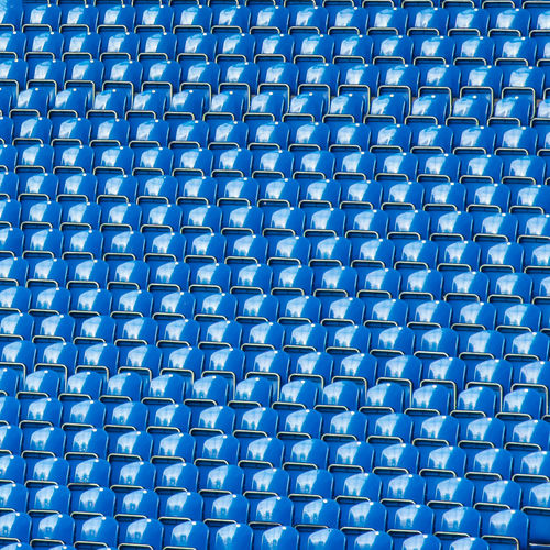 Stadium Textured  Abundance Alloy Backgrounds Blue Close-up Day Full Frame Go-west-photography.com Grid In A Row Indoors  Industry Large Group Of Objects Metal No People Pattern Repetition Seats Seats Available Shape Silver Colored Steel Technology Textured