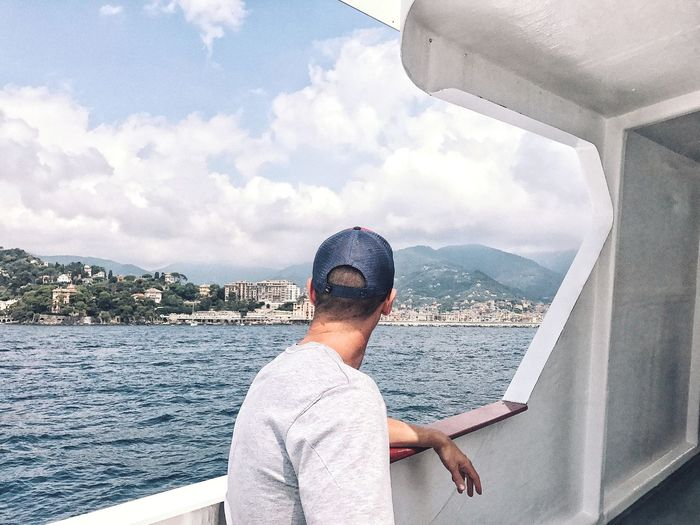 Arriving to where to? Ocean Journey Traveling Greatful  Contemplating Enjoying The Moment Enjoying The View Life Embracing View Cloud - Sky Sky One Person Water Glasses Real People Sunglasses Leisure Activity Lifestyles Headshot Sea A New Beginning