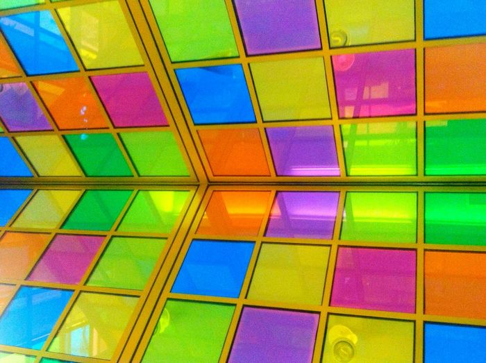 Pattern Pieces Geometric Squares Vibrant Colors Colorful Memphis Library Glass