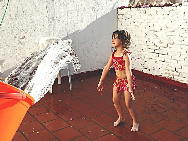 Childhood Children Only Child Lifestyles One Girl Only Outdoors Full Length Playing One Person Human Body Part Day People Real People Summertime Playing With Water