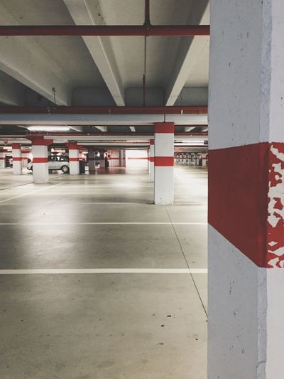 underground parking lot Geometric Shape Geometry Pattern Lines And Shapes Parking Lot Ceiling Built Structure Transportation Architecture Parking Garage Indoors  Architectural Column No People Basement Illuminated