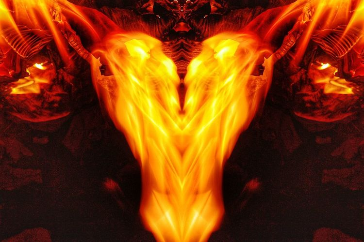 """""""Wolf-Ram and Heart"""", inspired by the evil corporation in the TV show ANGEL, WOLFRAM AND HART. From my Fire Portraits Series. Wolfram And Hart Wolf-Ram And Heart Angel Fire Portraits Red Flame Illuminated Burningflame To Reign In Hell Brust Heaven And Hell Demonic Entities The Fallen Demonology Horror And Fantasy Inferno Burning Orange Color Heat - Temperature Satan Purity Nature Nawfal Johnson"""