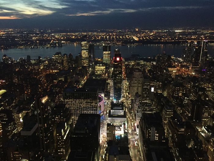 Architecture Cityscape City Built Structure Building Exterior Skyscraper Illuminated Travel Destinations High Angle View New York City Skyline Sunset City Life Modern Aerial View No People Outdoors Sky Urban Skyline Night