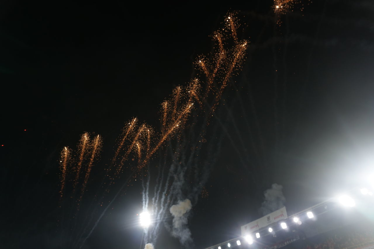 LOW ANGLE VIEW OF FIREWORKS IN SKY AT NIGHT