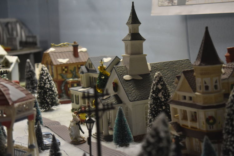 Close-up of model home with christmas decorations