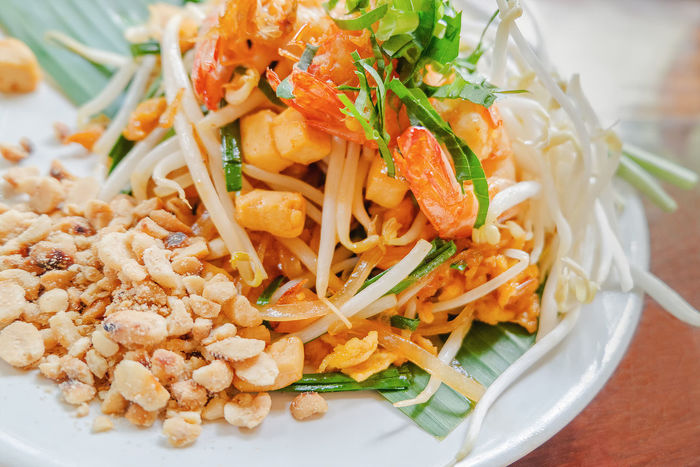 Diet Green Color Meal Noodles Nuts Peace Seafood Banana Leaf Bean Beansprout Close-up Coriander Cuisine Eats Food Food And Drink Freshness Haricot Healthy Eating Healthy Food Healthy Lifestyle Nutrition Pad Thai Kung Plate Thaifood