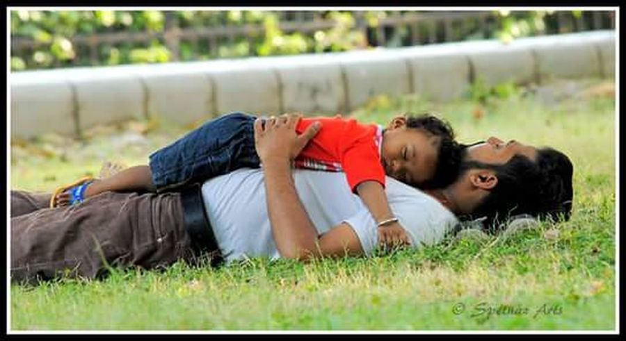 Fatherhood Moments EyeEm Grass India Delhi Fatherslove Shen Tired Sleep Love Relation  Bond