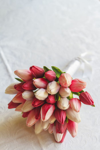 Tulip Wedding Bouquet Tulips Wedding Wedding Bouquet Bouquet Bouquet Of Flowers Close-up Flower Flower Head Flowers Food And Drink Fragility Freshness Indoors  Linen Nature No People Petal Pink Tulips Red Red Tulip Tulip Wedding Day White Tulips