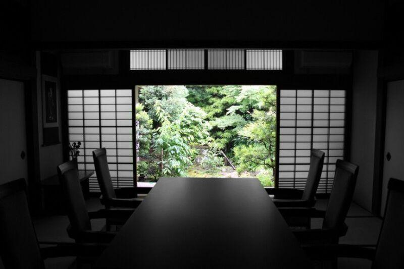 Interior of empty dining room