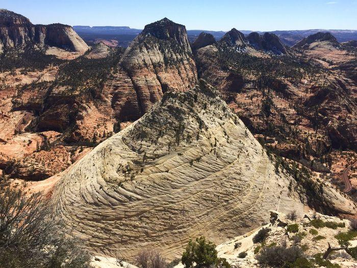Idyllic Shot Of Rocky Landscape At Zion National Park Against Sky