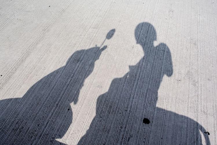 Shadow of biker