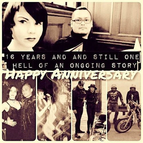 HappyAnniversary HappilyMarried 16years Weddinganniversary metalcouple @gothcouple bikers muscisians kayakers playtogetherstaytogether musicislove togetherforever ilovehimsomuch powercouple