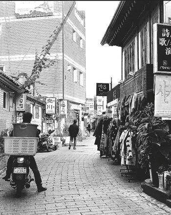 Motorcyclist Lane Quaint  Shops Apparel Insadong Seoul_korea Travel Photography Streetphotography Black & White