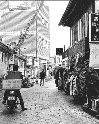 Motorcyclist Lane Quaint  Shops Apparel Insadong Seoul_korea Travel Photography Streetphotography Black & White