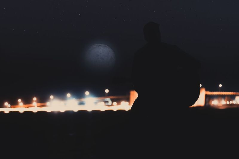 ... Stars Moonlight Moon Landscape People Photography Photo Night Silhouette Illuminated Real People Rear View Men One Person