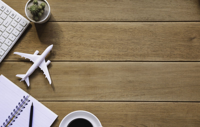 High angle view of airplane on table