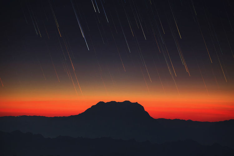 Star trail over mountain ranges Astronomy Astrophotography Beauty In Nature Milky Way Mountain Mountain Peak Nature Night No People Outdoors Scenics Sky Skylight Star Star - Space Startrails Sunset Fresh On Market 2017