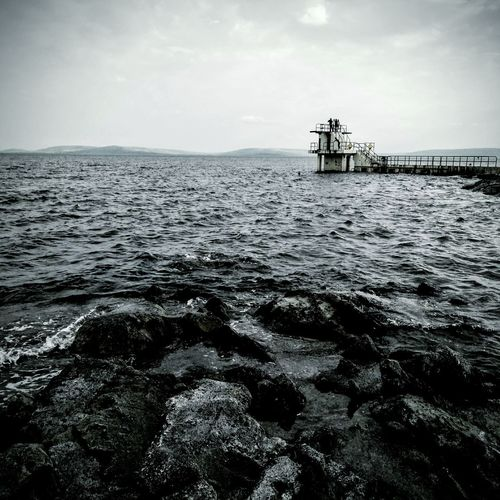 Blackrock in galway City Diving Board Water Galway Lonely Solitary Bay Clear Old Landmark Dull Weather Popular