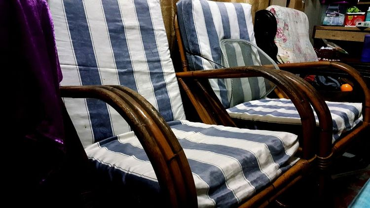 EyeEmNewHere Eyeem Market Borneo Sabah Stripes Pattern Cushion Chair Rattan Chair Chairs Old-fashioned Nostalgia Living Room Living Room Furniture Transportation No People Day Indoors  Close-up EyeEm Ready