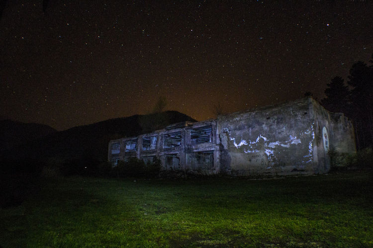 Abandoned Architecture Astronomy Building Exterior Built Structure Field Georgia Grass Moon Nature Night Nightphotography No People Old Ruin Outdoors Sky Star - Space Summer
