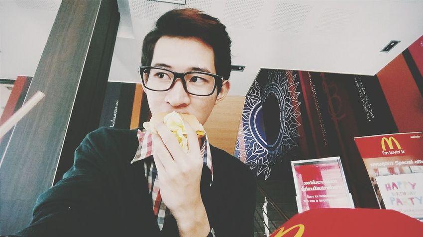 Good Morning Eating Breakfast Hamburger Macdonalds Thailand Yummy Full Working Time For Breakfast