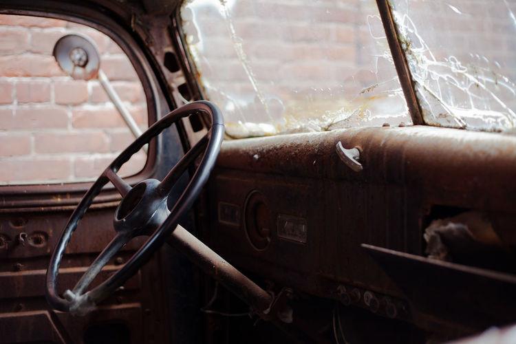 Interior of abandoned vintage car