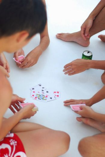Boat Trip Boys Card Game Childhood Day Friendship High Angle View Human Hand Indoors  People Playing Real People Table Togetherness