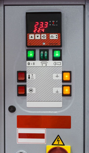 Cut Green Industry Machinery On Off Press Switch Board Control Control Panel Cut Out Digital Engineering Light Button Manufacturing Equipment Pannel Safety Technology Turn On