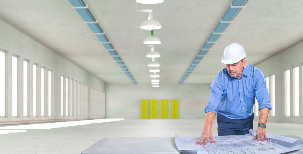 Man working in corridor