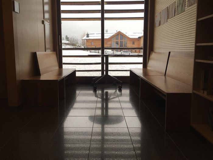 Waitingroom Waiting Architecture Wood - Material Reflection Window Panorama Alps No People Interior Interior Design Open Edit