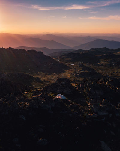 Sunset over our beautiful alpine camp-site at Mt Kosciuszko, Australia Australia Australian Landscape Camping DJI Mavic Pro Drone  Mt Kosciuszko Sunset_collection Travel Adventure Beauty In Nature Day Landscape Mavic Pro Mountain Mountain Range Nature No People Outdoors Scenics Sky Sunset Ten Tranquil Scene Tranquility Week On Eyeem An Eye For Travel Love Yourself Go Higher