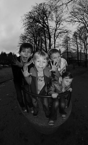 Art Art And Craft Boys Childhood Cousin Cousins  Crazy Crazy Face Creativity Elementary Age Family Friends Front View Happiness Human Representation Lifestyles Outdoors Park - Man Made Space Person Playground Playgrounds Sculpture Smiling Statue Tree