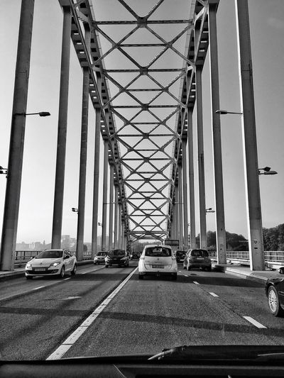 Taking Photos Bridge Monochrome Architecture Eye4photography  EyeEm Best Shots EyeEm Gallery EyeEm Deceptively Simple Pattern, Texture, Shape And Form Road Built Structure Ontheroad Capture The Moment Streetphotography EyeEmBestPics Light And Shadow Simplicity Road Traffic IPhoneography View Waalbrug Nijmegen