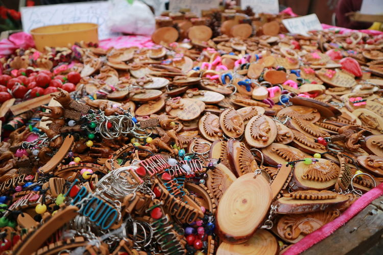Close-up of various key rings for sale in market