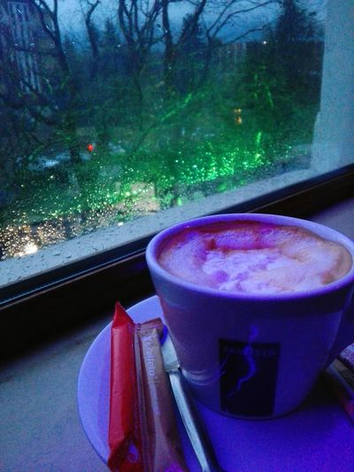 Caffe Time Rain Drops RainyDay Window No People Drink Indoors  Refreshment Food And Drink Drinking Glass Close-up Day Tree Freshness Nature Water