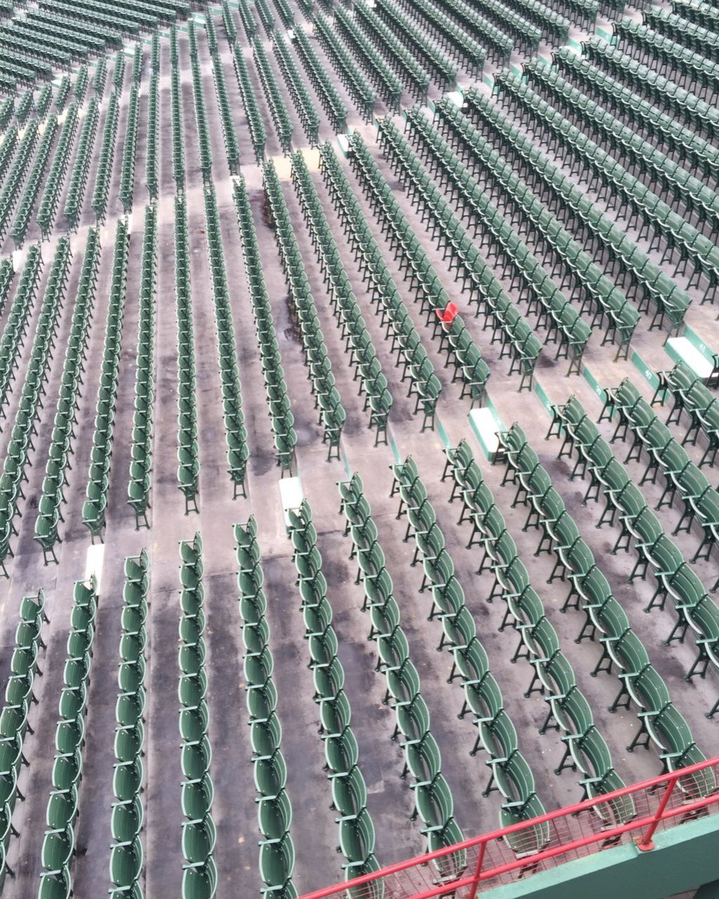 High Angle View Of Green Chairs In Rows