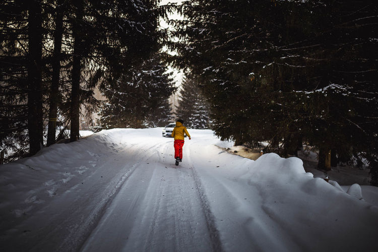 Snow Winter Cold Temperature Tree Plant Real People Nature Land Rear View One Person Beauty In Nature White Color Covering Forest Warm Clothing Lifestyles Leisure Activity Direction Full Length The Way Forward Outdoors Snowcapped Mountain Running People Fast