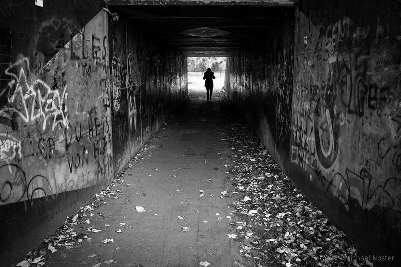 Tunnel Walking One Person Urban Graffiti Blackandwhite