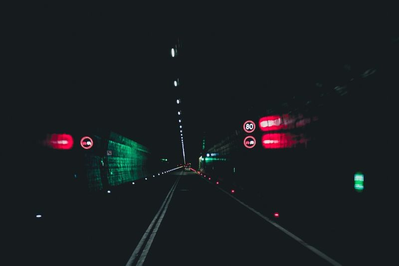Night tunnel signs Illuminated Night Transportation Road No People Sign The Way Forward Mode Of Transportation Motor Vehicle Building Exterior Street Lighting Equipment Direction Architecture Communication Outdoors Car Light City Built Structure
