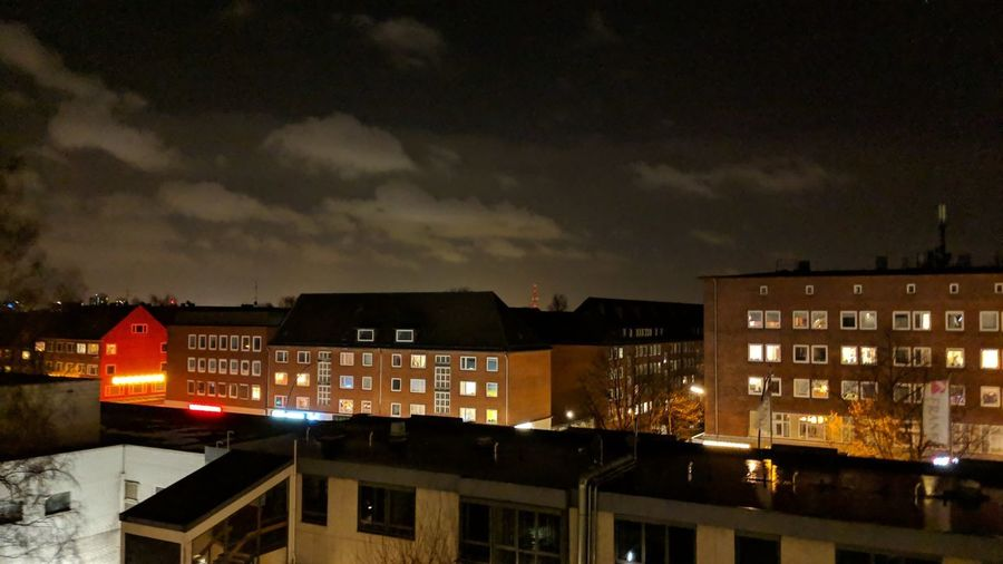 Fuhlsbüttler Straße. Hamburg Germany Hh Barmbek Fuhlsbüttler Straße Fuhle City City Lights Night Lights Urban Beauty Night Photography Clouds Mystery Distance Night Colors Brick Brick Buildings City Cityscape Illuminated City Street Residential Building Sky Architecture Building Exterior