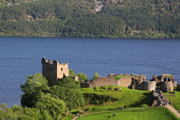 Architecture Blue Built Structure Castle Green Green Color High Angle View Inverness Loch Ness Nature Scenics Scotland Tranquil Scene Tranquility Tree Urquhart Castle UrquhartCastle Water