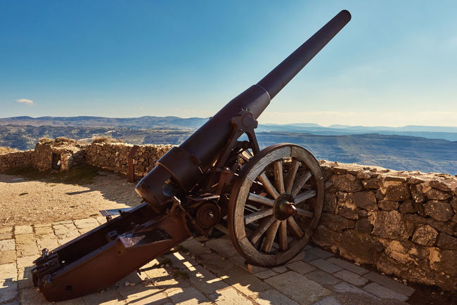 Cannon on the castle of Morella, province of Castellon, Valencian Community, Spain Above Altitude Ancient Architecture Battle Blue Sky Brick Cannon Castellón Castle Defensive Europe Landmark Maestrazgo Medieval Architecture Military Morella National Landmark No People Nobody Outdoors Past Time SPAIN Travel Destinations Weapon Weapons