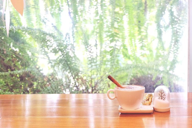 coffee shop Interior Coffee Cup Coffee Cappuccino Hot Drink Wood Table Beautiful Background New Photo Drink Relaxing Cafe Tea - Hot Drink Sunlight Tree Green Tea Window Body Care Teapot Tea Cup