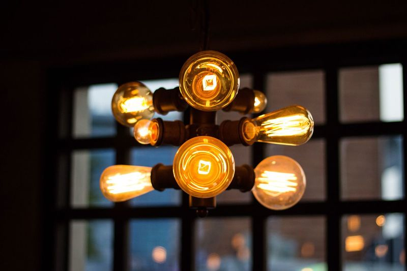 Illuminated Lighting Equipment Electricity  Focus On Foreground Indoors  Low Angle View No People Hanging Technology Light Bulb Close-up Night