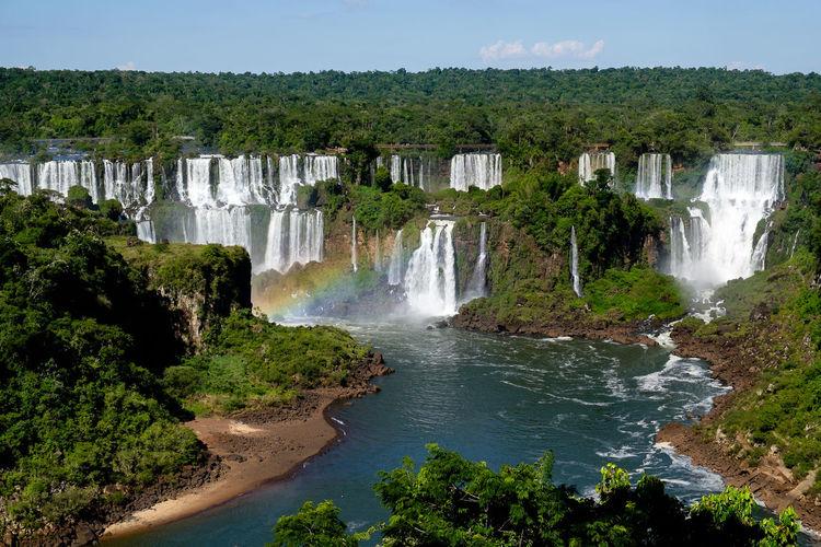 Rainbow at iguazu falls in brazil / argentina