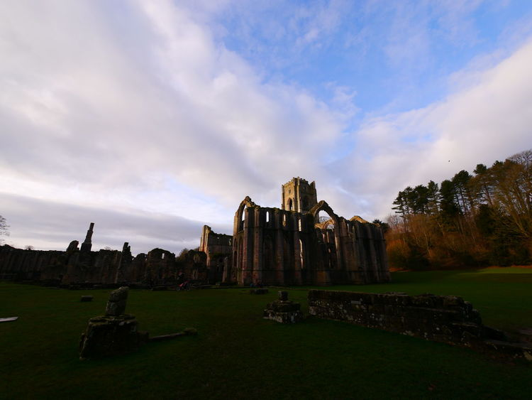 Ancient Ancient Civilization Archaeology Architecture Building Exterior Built Structure Cloud - Sky Day December December 2016 Fountains Abbey Fountains Abbey Yorkshire Fountains Abbey, Yorkshire Grass History Nature No People Old Ruin Outdoors Place Of Worship Sky Spirituality The Past Tourism Travel Destinations