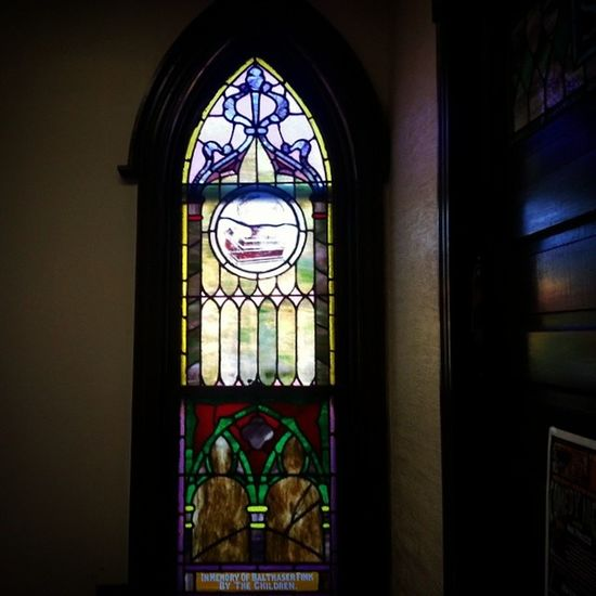 In memory of Balthasar Fink, from the children Deconsecrated Church Stainedglass 1920s retired closed summithill necropolis coalcountry appalachia pennsylvania