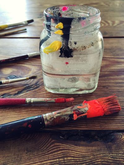 Paint Creativity Art Equipment Art Supplies Painting Paintbrush Painting Indoors  No People Glass - Material