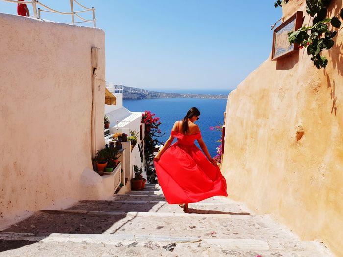 #Oia # Santorini Women Young Women Red Fashion Model Glamour Sky